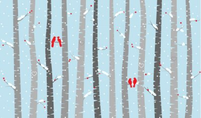 Fototapeta Wektor Brzoza lub Aspen Drzewa w śniegu i miłości Ptaki