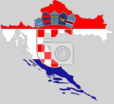 Wektor Chorwacja Mapa Topograficzna Republika Chorwacji Flaga
