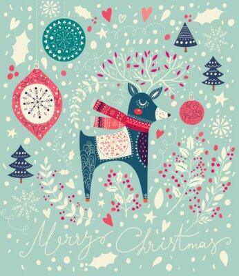 Fototapeta Wektor Christmas ilustracji z uroczych jelenia