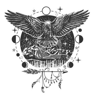 Fototapeta Wektor Czarny Tatuaż Kruk Lub T Shirt Wzór Wydruku