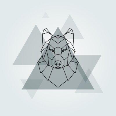 Fototapeta Wektor geometryczny zwierzę szary pies wilk tle.