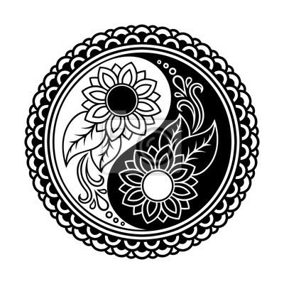 Wektor Henna Tatuaż Mandalayin Yang Symbol Dekoracyjne Stylu