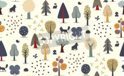 Fototapeta Wektor ilustrowany wzór płaskich elementów leśnych - różne drzewa, dzikie zwierzęta i nasiona.