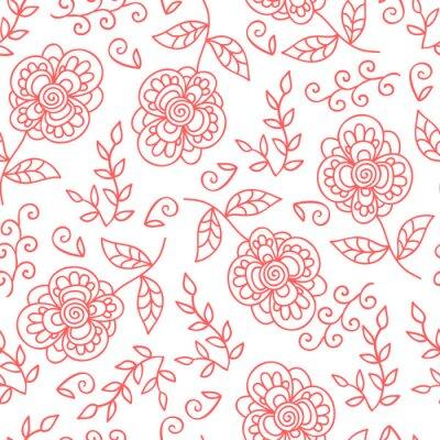 Fototapeta wektor kwiat i pozostawia bez szwu deseń. Doodle słodkie kwiaty.