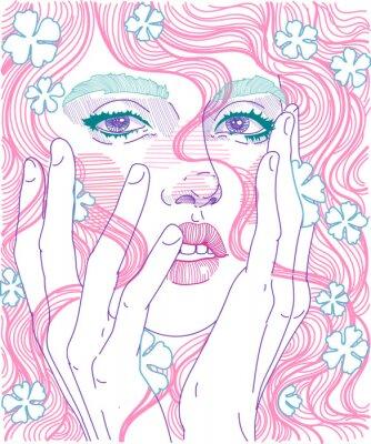 Fototapeta wektor piękna dziewczyna twarz zbliżenie pełna twarz z różowe włosy i delikatne kwiaty w fryzurę, trzyma ręce na twarz