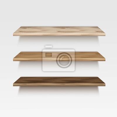 Fototapeta Wektor Puste Drewniane Półki Drewniane Półki Pojedynczo Na Tle