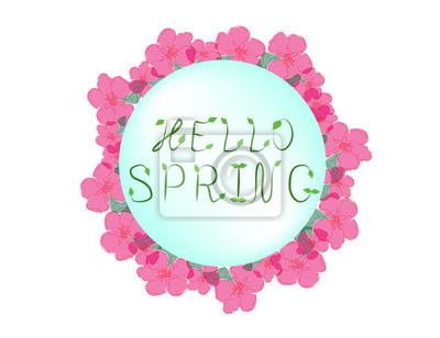 Fototapeta Wektor Ręcznie Drukiem Inspirujące Typografii Plakat Witam Wiosną