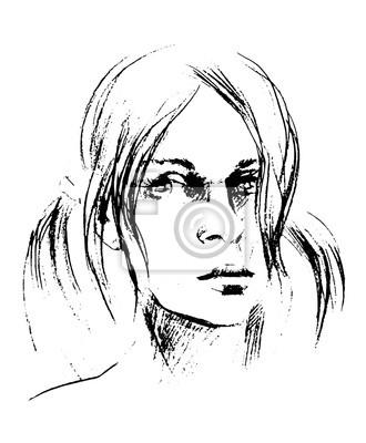 Wektor Rysowane Ręcznie Szkic Ołówkiem Z Twarzą Dziewczyny Portret