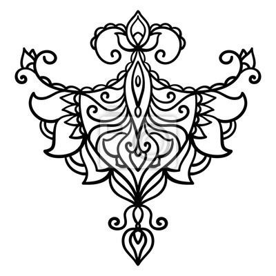 Wektor Streszczenie Orientalny Styl Kwiat Lotosu Tatuaż