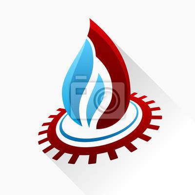 Fototapeta Wektor symbol ognia z przekładnią. Szkła ikonę niebieski i czerwony płomień
