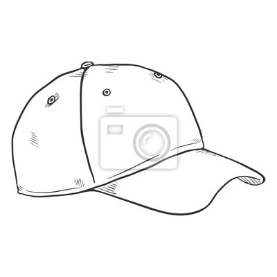 3157f6f4bb3e10 Wektor szkic blank baseball cap Fototapeta • Fototapety czapka z ...