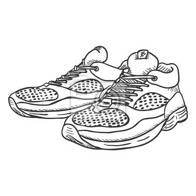 8b5496fa53edd Wektor szkic ilustracja - para buty do biegania Fototapeta ...