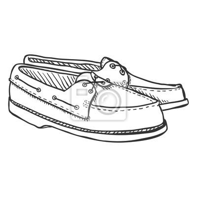 1f6a8057b6bcb Wektor szkic ilustracja - para topsider men shoes Fototapeta ...