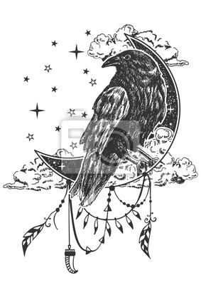 Fototapeta Wektor Tatuaż Boho Kruk Lub T Shirt Wzór Wydruku