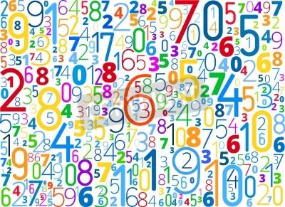 Fototapeta Wektor tęczy kolorowe tło z różnymi numerami typografii