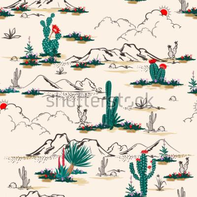 Fototapeta Wektor wzór lato kaktus na pustyni wymieszać z piękny kwitnący sukulenty kwiat moda tkanina i wszystkie odbitki na jasnobeżowy piasek tło.
