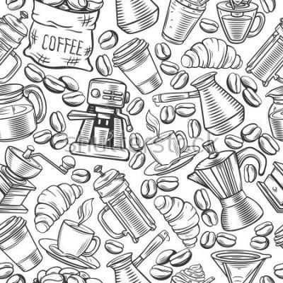 Fototapeta Wektor wzór wzoru kawy z kubki szkic, gorące napoje, francuski przygotowania, browar dla menu kawiarni.