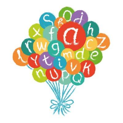 Fototapeta Wektor zabawny alfabetu angielskiego. Ręcznie rysowane kredą jak litery w kolorowe okręgi.