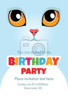 Wektor Zaproszenie Urodzinowe Karty Z Cute Biały Kot Niektóre