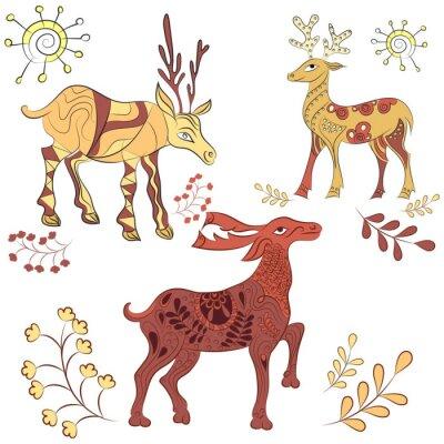Fototapeta Wektor zdobione jelenie z elementami natury. Ręcznie rysowane ilustracji. Skandynawski, w stylu indyjskim. elementy ornamentu