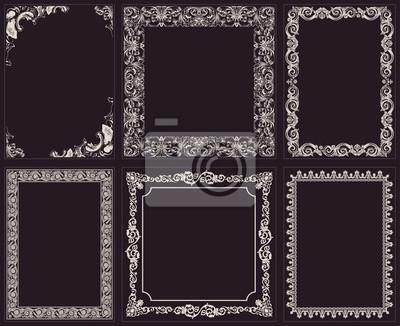 Fototapeta Wektor zestaw kaligraficzne ramki. Rocznika barokowy ornament i bor
