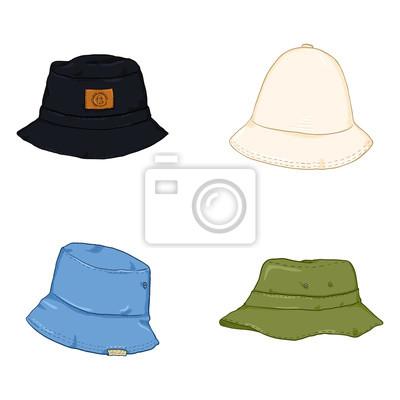 f0dac4314ce985 Fototapeta Wektor zestaw kapelusze wiadro kreskówka. Nakrycie głowy w stylu  hip-hop.