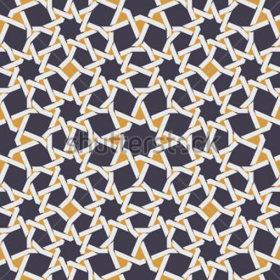 Fototapeta Wektorowa Bezszwowa Islamska gwiazdy linia w Żółtym I Błękitnym Geometrycznym Deseniowym Abstrakcjonistycznym tle