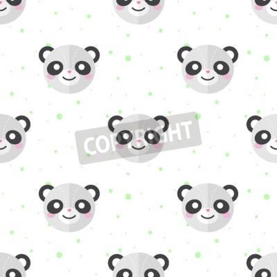 Fototapeta Wektorowa Funny płaskim panda kreskówki głowy szwu. Panda tła.