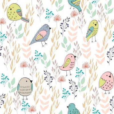 Fototapeta Wektorowy bezszwowy wzór z ptakami i kwiatami