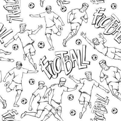 Fototapeta Wektorowy gracz futbolu z balowym nakreślenie bezszwowym wzorem. Soccers ruch i bramkarz sport mundurują różne pozy i rasę. Czarno-biały ilustracja kontur i napis malowane litery