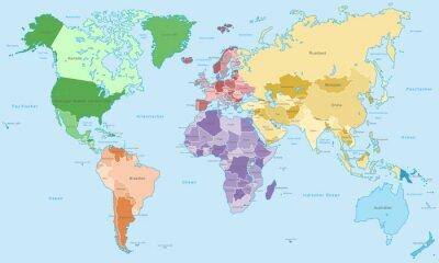 Fototapeta Weltkarte - einzelne Kontinente w Farbe (Hoher Detailgrad)