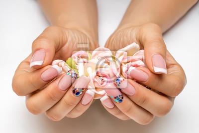 Wesele Francuski Biały Manicure Z Błyszczymi Konfetti Na Długie