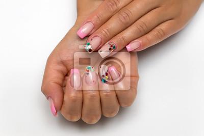 Weselny Francuski Delikatnie Różowy Manicure Z Błyszczymi Konfetti