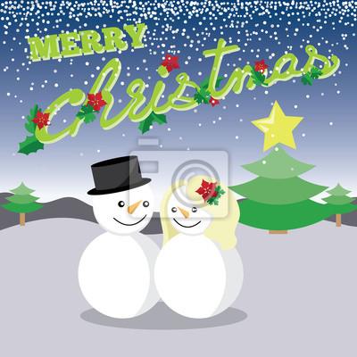 Fototapeta Wesołych Świąt i człowiek śniegu