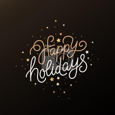 Fototapeta Wesołych Świąt - kartkę z życzeniami z ręcznie napisanym tekstem w stylu kaligraficznym