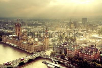 Fototapeta Westminster widok z lotu ptaka z Tamizą i Londyn miejski pejzaż miejski.