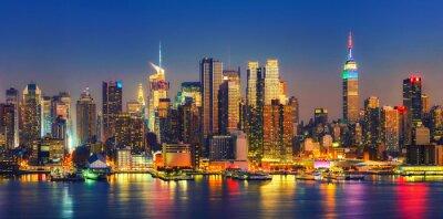 Fototapeta Widok na Manhattan w nocy, Nowy Jork, USA