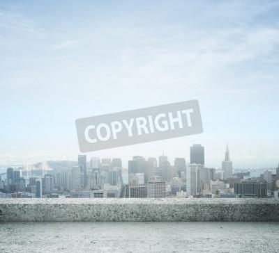 Fototapeta Widok na miasto z betonowym dachem