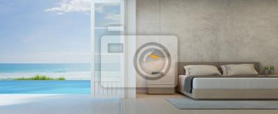 Fototapeta Widok Na Morze Sypialnia Z Tarasem W Luksusowym Domu Na Plaży