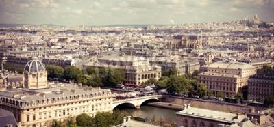 Fototapeta Widok na Paryż tworzą Notre Dame. Styl Instagram niefiltrowane obrazu