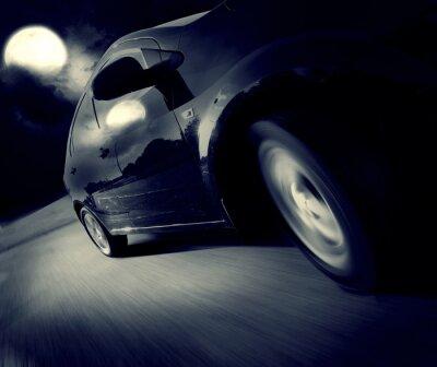 Fototapeta Widok z boku z kolei czarny samochód