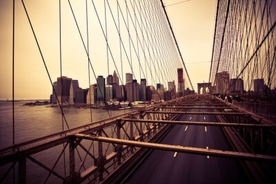 Fototapeta Widok z dzielnicy finansowej z Brooklyn Bridge
