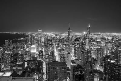 Fototapeta Widok z lotu ptaka Chicagowska w centrum linia horyzontu przy zmierzchem od wysokości above.