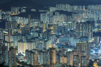 Fototapeta Widok z lotu ptaka miasta Hongkong