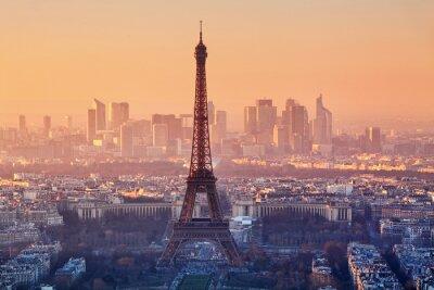 Fototapeta Widok z lotu ptaka Paryżu o zachodzie słońca