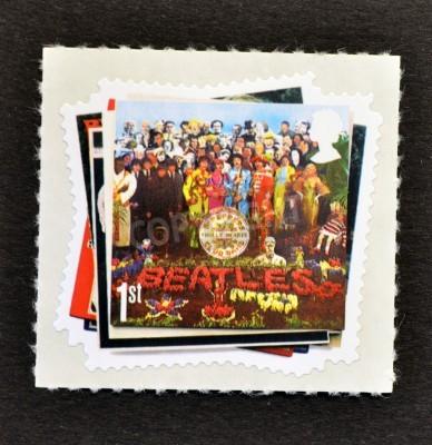 Fototapeta WIELKA BRYTANIA - OKOŁO 2007: Stempel drukowane w Wielkiej Brytanii pokazuje The Beatles Pop grupy Album Cover, circa 2007
