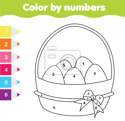 Wielkanocna Gra Rysunkowa Kolor Wedlug Numerow Arkusz Roboczy
