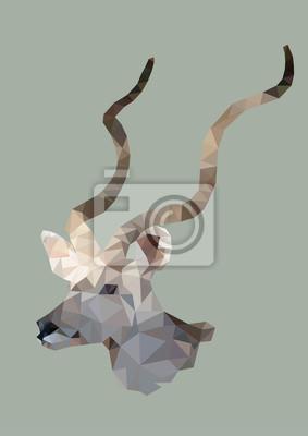 Fototapeta wielokąta Kudu, wielokąt geometryczne zwierząt, wektor