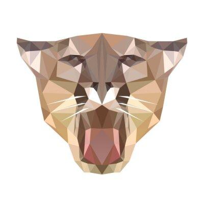 Fototapeta wielokątne głowa tygrysa, wielokąt geometryczne zwierząt, wektor