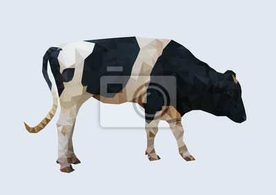 Fototapeta wielokątne krowy, wielokąt geometryczne zwierząt, wektor